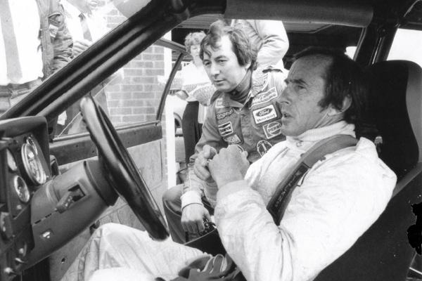 Sir Jackie Stewart with Richard Longman, Thruxton testing, Ford RS1600I, BTCC, Longman Racing Ltd.