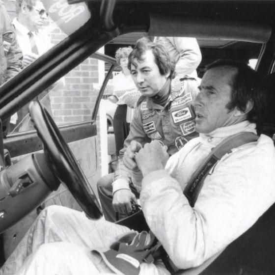 Sir Jackie Stewart with Richard Longman, Thruxton testing, Ford RS1600I, BTCC, Longman Racing Ltd.